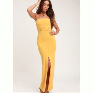 New Lulus Own The Night Golden Yellow strapless